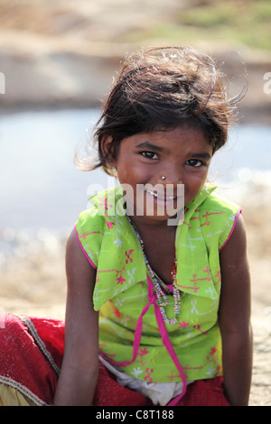 Lower caste girl in Andhra Pradesh South India - Stock Photo