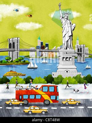 Usa, New York, New York City, Statue Of Liberty An Bridge - Stock Photo