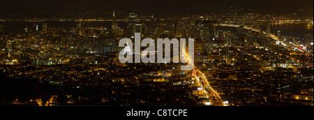 San Francisco California Cityscape at Night with Bay Bridge at Night Panorama - Stock Photo