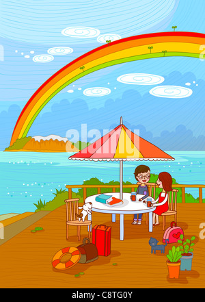 Couple At Outdoor Café - Stock Photo