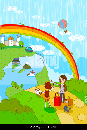 Couple With Luggage Travelling - Stock Photo