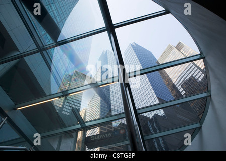 USA, New York State, New York City, Manhattan, Low angle view of skyscrapers - Stock Photo