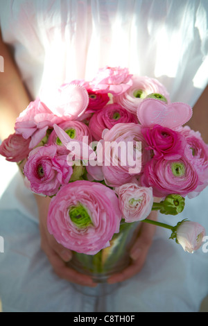 Woman With Flower Vase - Stock Photo