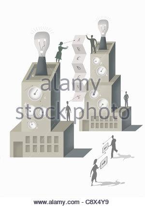 People communicating between highrise buildings - Stock Photo