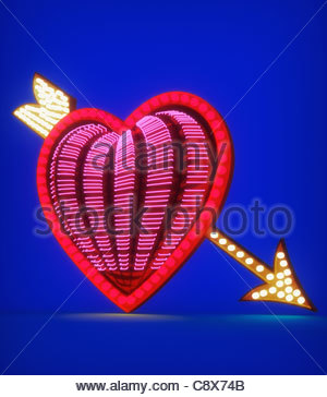 Arrow through neon heart - Stock Photo