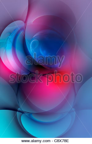 Abstract glowing curved shapes - Stock Photo