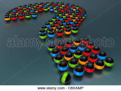 Colourful glowing balls arranged in question mark - Stock Photo