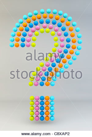 Bunte pastellfarbene Kugeln angeordnet in Frage mark - Stockfoto