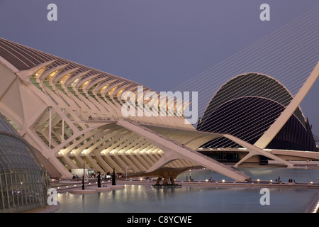 City of sciences and arts by architect Santiago Calatrava, Valencia , Spain,  - Stock Photo
