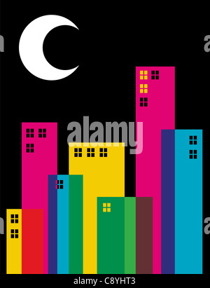 Multicolored transparency buildings and moon on top illustration. Vector file available. - Stock Photo
