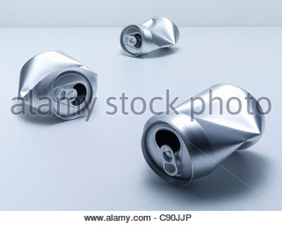 Crumpled soda cans - Stock Photo