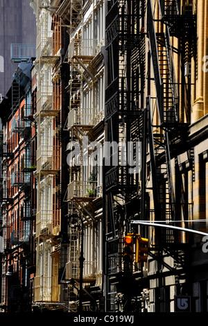 Tribeca, Fire Escape, New York City, New York, USA, North America, America - Stock Photo