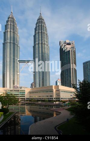 Petronas Towers in the city centre of Kuala Lumpur, Malysia, Asia - Stock Photo