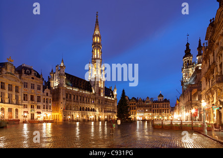 The Town Hall, of the City of Brussels is a Gothic building from the Middle Ages, Brussels, Belgium. - Stock Photo