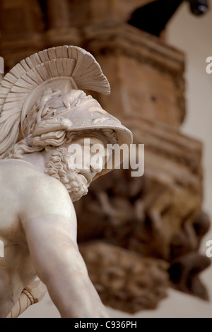 Italy, Florence, Western Europe; Detail of statue outside Palazzo Vecchio - Stockfoto