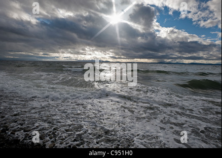 Pacific ocean in storm and waves - Stock Photo