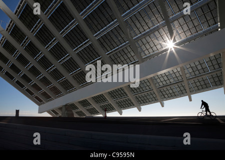 Large solar panel in barcelona forum recreation park couple looking stock photo royalty free - Solar barcelona ...