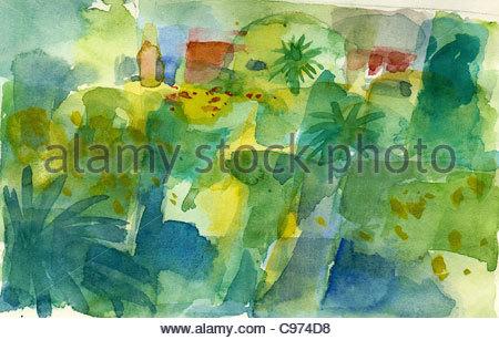 Travel sketches Canary Islands La Palma - Stock Photo