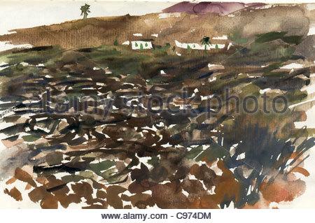 Travel sketches Canary Islands Lanzarote - Stock Photo