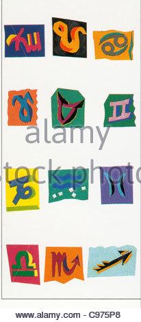 12 horoscope sign Zodiac Zodiac Zodiacs Signs of the zodiac Zodiacal conste - Stock Photo