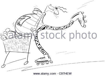 Pregnant with Roller Blades and Shopping Cart - Stock Photo