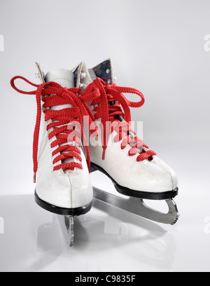 Ice skates with red laces isolated on white background - Stockfoto