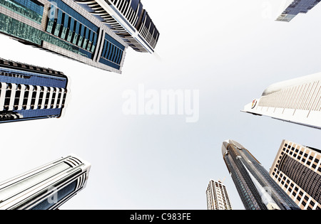 Towers, skyscrapers, hotels, modern architecture, Sheikh Zayed Road, Financial District, Dubai, United Arab Emirates - Stock Photo