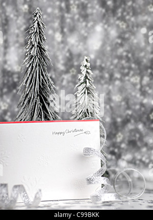 Happy holiday Christmas card background with blur lights, decoration & ornament - Stock Photo