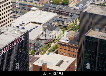 Aerial view of downtown Columbus, Ohio taken from the James A. Rhodes State Office Building. - Stock Photo