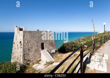 Watchtower of Peschici to protect the Apulian coast - Stock Photo