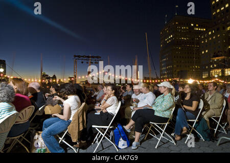 World Financial Center New York City Battery Park Tropfest short film festival movies by independent filmmakers - Stock Photo