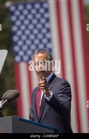 US President Barack Obama addresses soldiers from the 3rd Infantry Division at Fort Stewart army base April 27, - Stock Photo