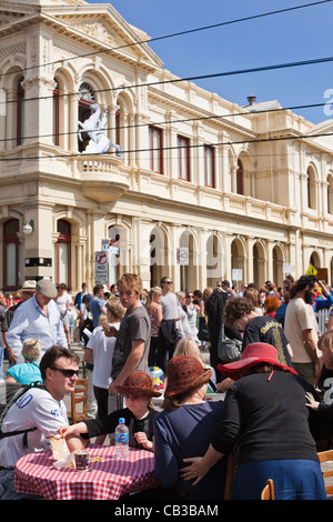 High Noon community festival is a Northcote local music fest in Melbourne, Australiafamily enjoy café table in the - Stock Photo