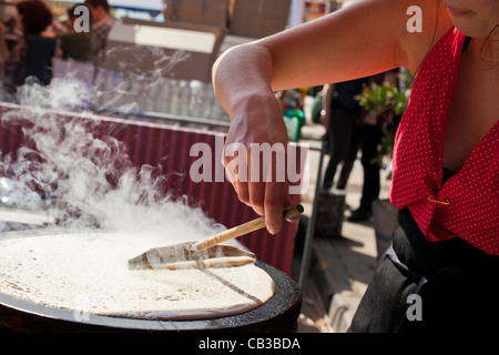 High Noon community festival is a Northcote local music fest in Melbourne, Australia crepe from street stall - Stock Photo