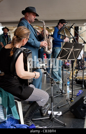 High Noon community festival is a Northcote local music fest in Melbourne, Australiaband playing on stage. - Stock Photo