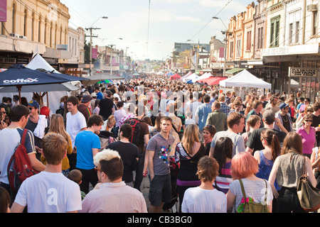 High Noon community festival is a Northcote local music fest in Melbourne, Australiacrowded streets at the festival. - Stock Photo