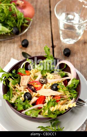 Pasta salad with tuna - Stock Photo