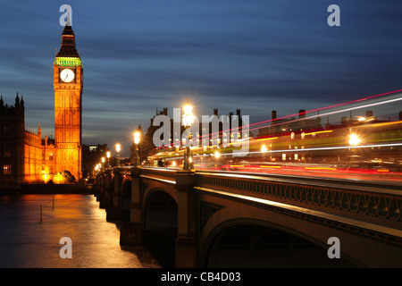 London, Westminster Bridge, Big Ben and the Houses of Parliament. UK - Stock Photo