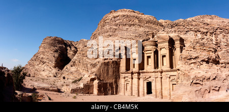Panoramic view of the Deir ( Monastery) at the ancient Nabatean city of Petra, Jordan - Stock Photo