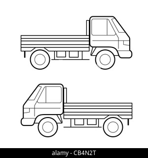 Car , vector black lines over white background - Stock Photo