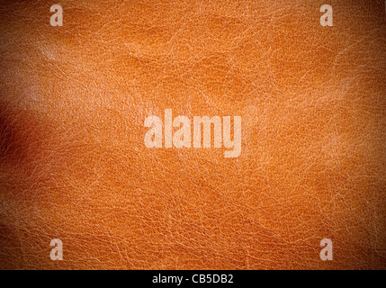 Light brown leather texture with vignetting on the corners - Stock Photo