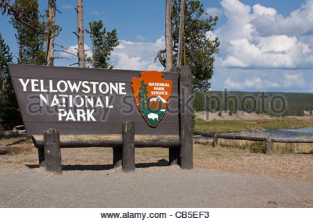 South entrance of Yellowstone National Park USA - Stock Photo