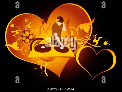 st.Valentines day concept for discotheque,made from my photo - Stockfoto