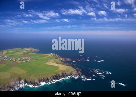 Aerial view of Lizard Point, Lizard Peninsula, in summer sun, Cornwall,Southwest  England, UK, United Kingdom, GB, - Stock Photo