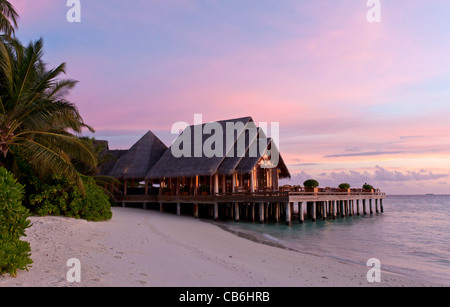 Beautiful restaurant on the Baros resort, Maldives. Indian Ocean - Stock Photo