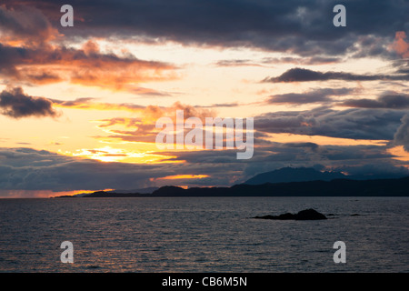 Sunset, Storm clouds, Point of Sleat, Skye, Scotland - Stock Photo