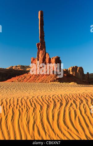 Totem Pole at sunrise, Monument Valley, Utah - Arizona - Stock Photo
