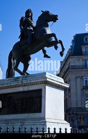 Paris, the Louis XIV equestrian statue in Place des Victoires - Stock Photo