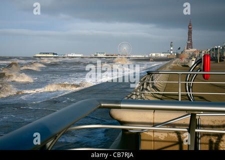 High tide Blackpool - Stock Photo