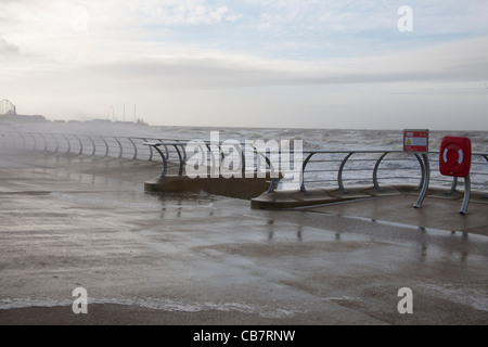 Stormy Seas and receding waves during the High tide at Blackpool, Lancashire, UK - Stock Photo